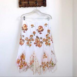 Anthropologie | Floral Patchwork Skirt